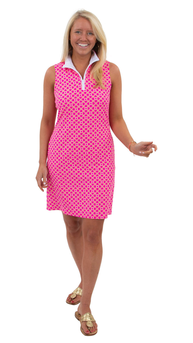 Britt Sleeveless Dress - Pink/Orange Bamboozled