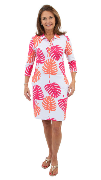 Port Dress - Hot Pink/Salmon Dancing Palms