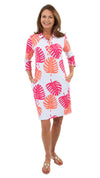 Port Dress - Hot Pink/Salmon Dancing Palms-SAMPLE FINAL SALE