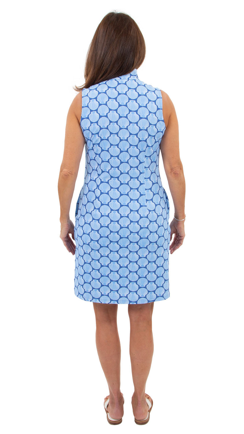 Britt Sleeveless Dress - Navy/Azure Baked Scallops