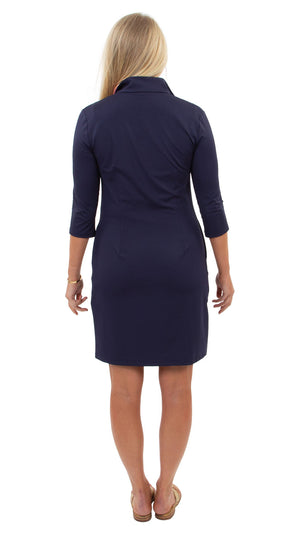 Britt Dress 3/4 Sleeve - Navy/Hot Pink