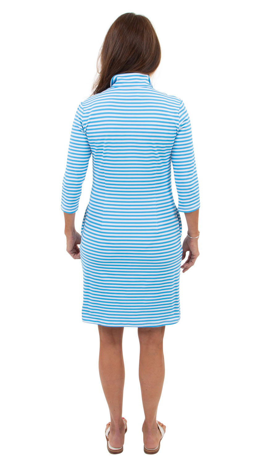 Britt Dress 3/4 Sleeve - Aquarius/White Stripe/Hot Pink