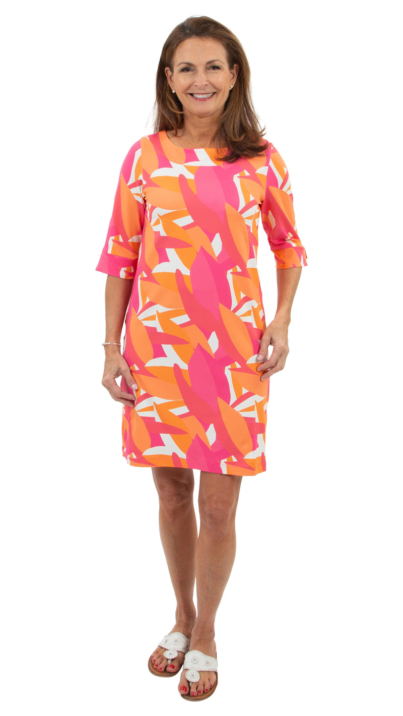 Yacht Club Shift 3/4 Sleeve - Pink/Orange Mod Leaves