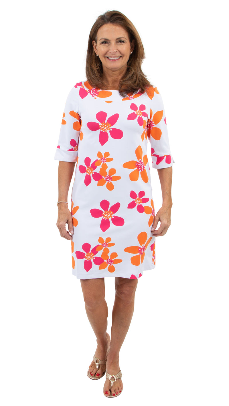 Yacht Club Shift 3/4 Sleeve - Pink/Orange Spring Flora-FINAL SALE