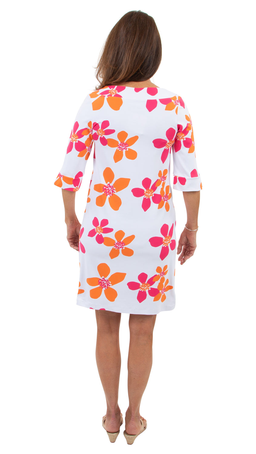 Yacht Club Shift 3/4 Sleeve - Pink/Orange Spring Flora