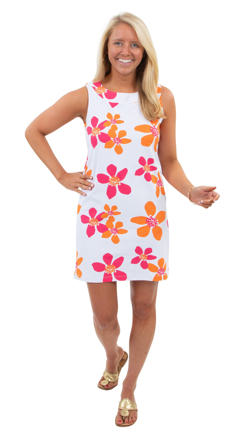 Yacht Club Shift - Pink/Orange Spring Flora - FINAL SALE