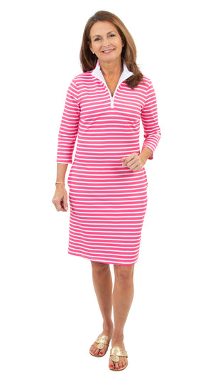 Britt Dress 3/4 Sleeve - Hot Pink Summer Stripe