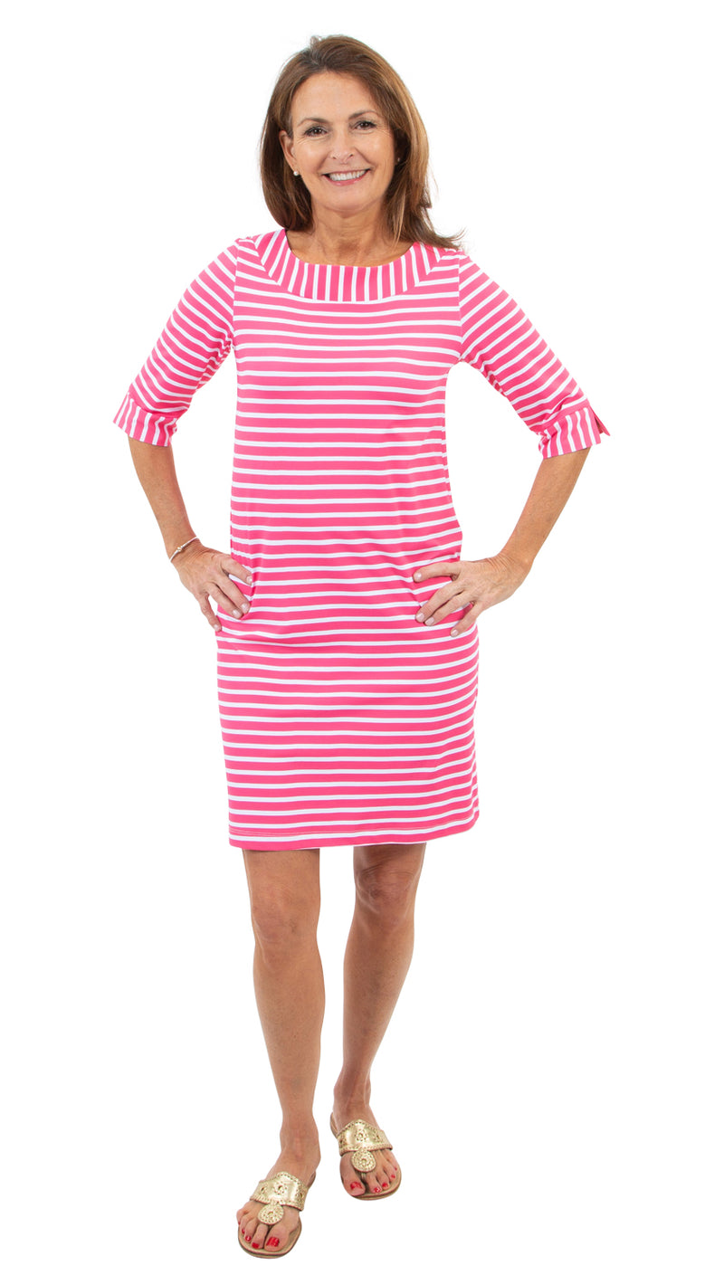 Yacht Club Shift 3/4 Sleeve - Hot Pink Summer Stripe