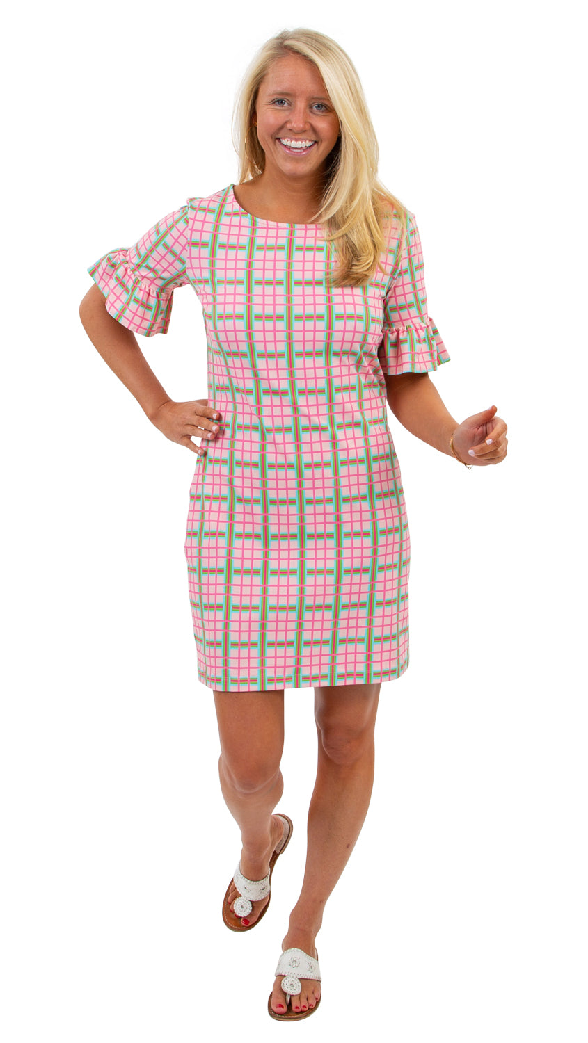 Dockside Dress - Pink/Green Spring Plaid
