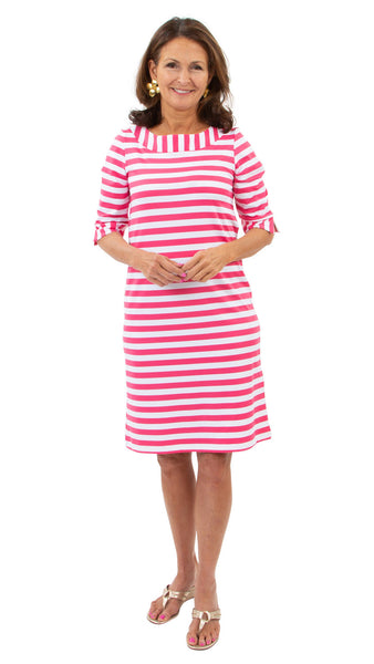 Yacht Club Shift 3/4 Sleeve - Awning Stripe White/Hot Pink SAMPLE - FINAL SALE