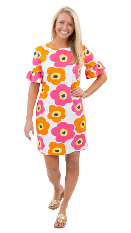 Dockside Dress - Mod Flower Pink/Orange SAMPLE - FINAL SALE