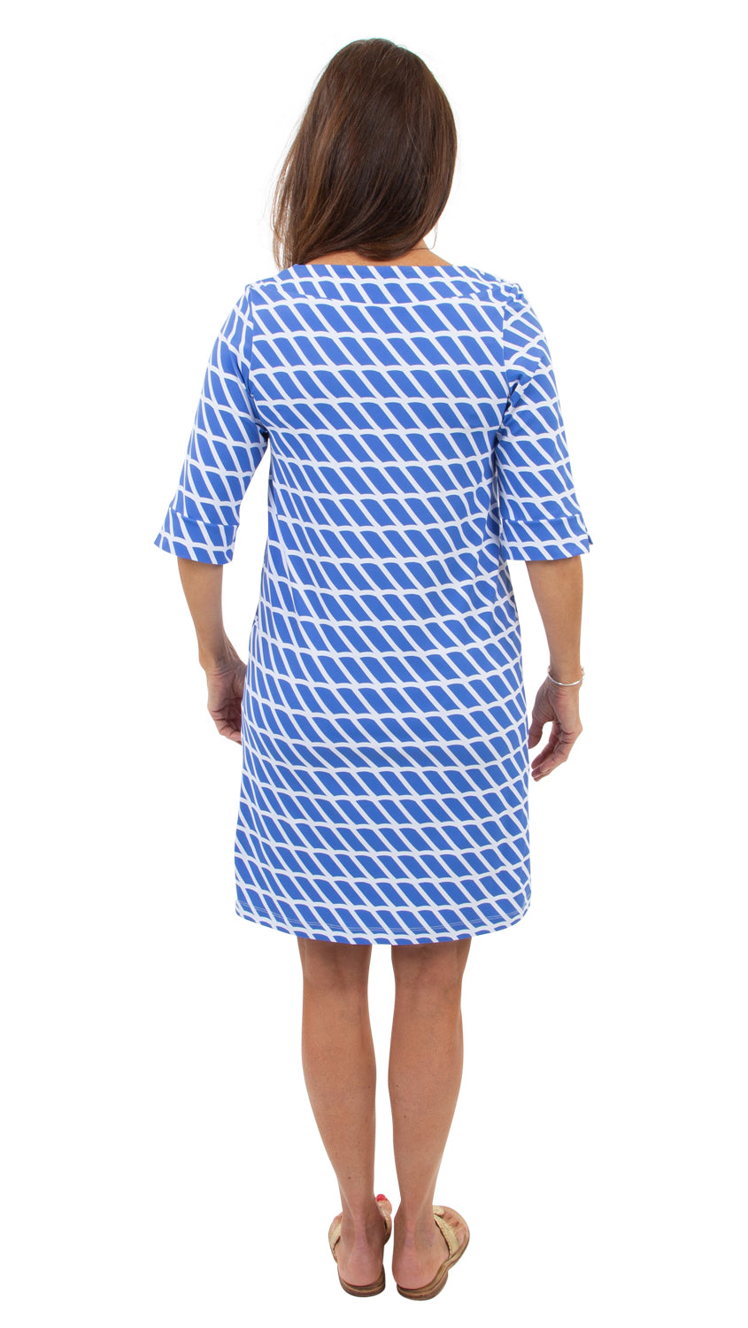 Yacht Club Shift 3/4 Sleeve - Blue/White Rope Stripe