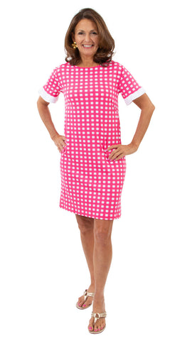 Coco Dress - Picnic Check Neon Pink/White SAMPLE - FINAL SALE