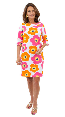 Yacht Club Shift 3/4 Sleeve - Mod Flower Neon Pink/Orange SAMPLE - FINAL SALE