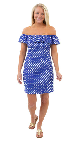 Shoreline Dress - Tiny Dot White/Dazzling Blue - FINAL SALE