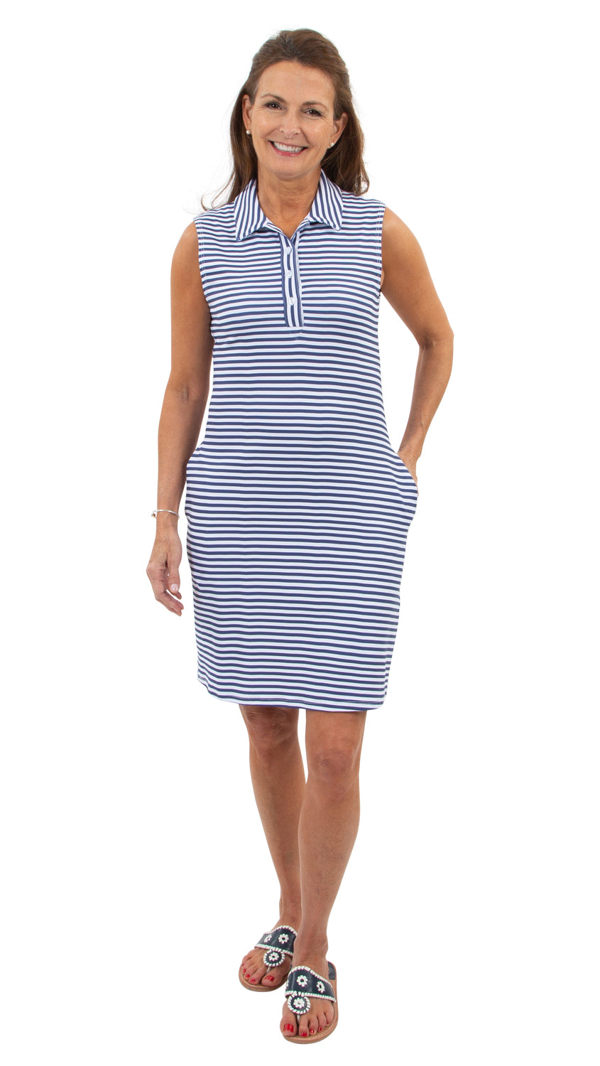 Port Sleeveless Dress - Navy/White Stripe-SAMPLE FINAL SALE