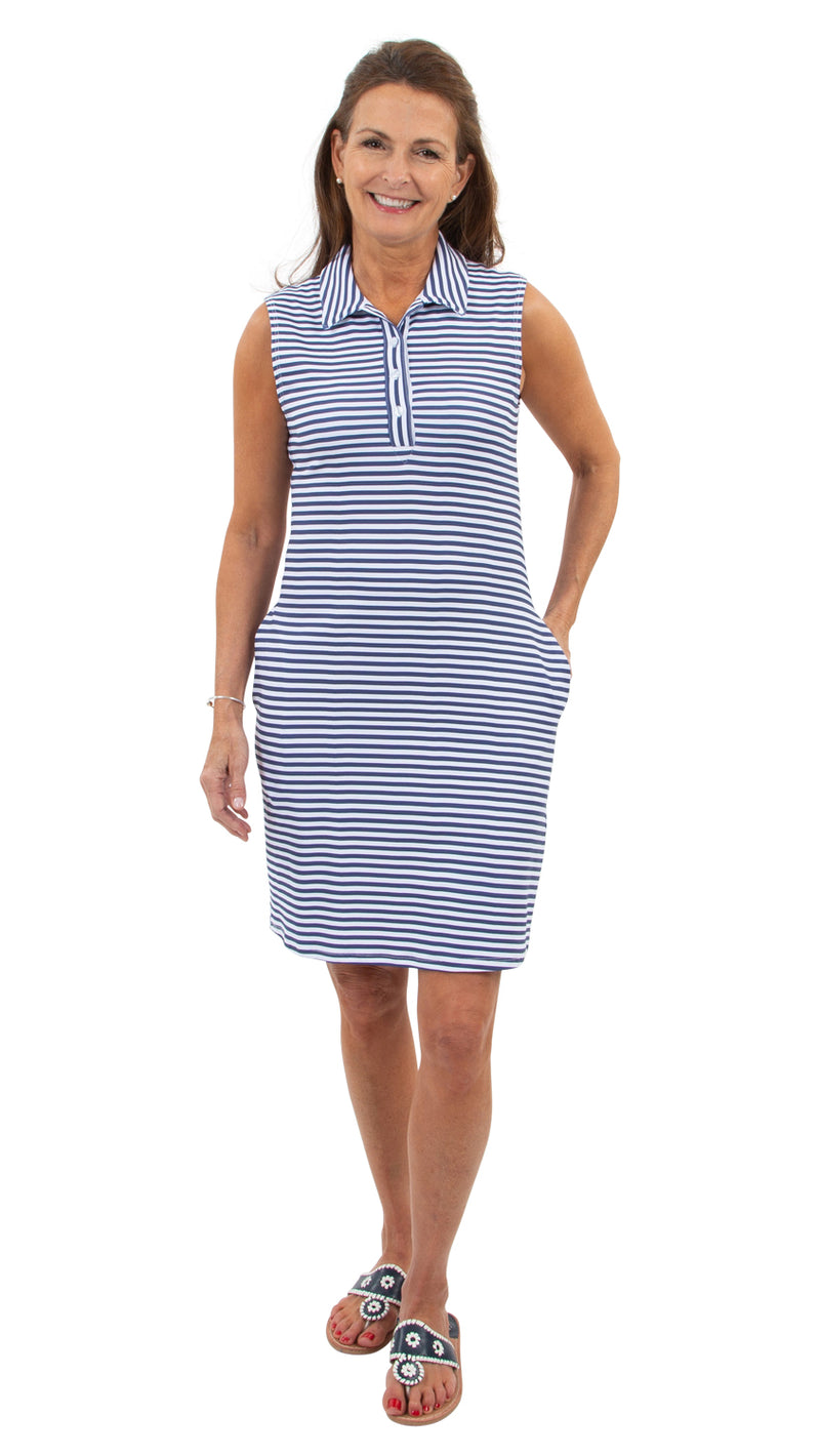 Port Sleeveless Dress - Navy/White Stripe