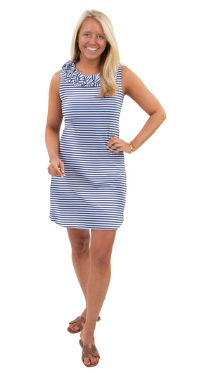 Cricket Sleeveless Dress - Navy/White Stripe
