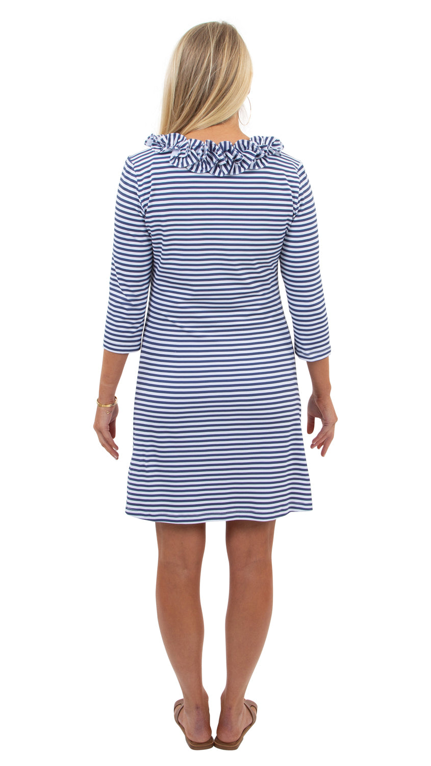 Cricket Dress 3/4 - Navy/White Stripe