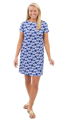 Marina Dress - Clam Bake White on True Blue SAMPLE - FINAL SALE