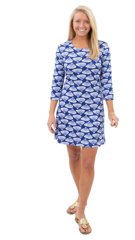 Grace Dress - Clam Bake White on True Blue SAMPLE - FINAL SALE