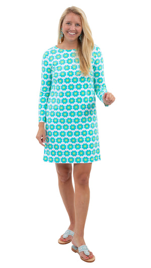 Marina Dress 3/4 Sleeve - Pocket Full of Daisies Blue/Green