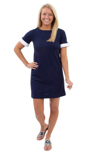 Coco Dress - Solid Navy/White Ruffle