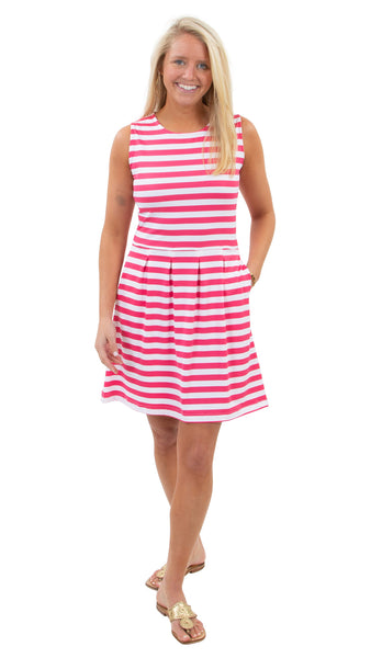 Boardwalk Dress - Awning Stripe White/Hot Pink SAMPLE - FINAL SALE