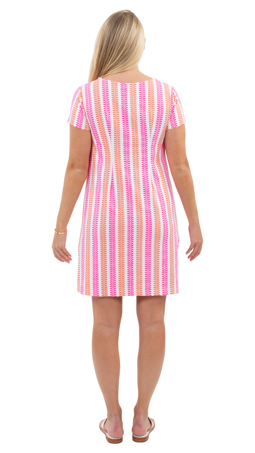 Marina Dress - Vertical Vines Coral/Pink