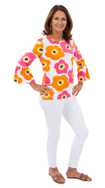 Haley Top - Mod Flower Neon Pink/Orange