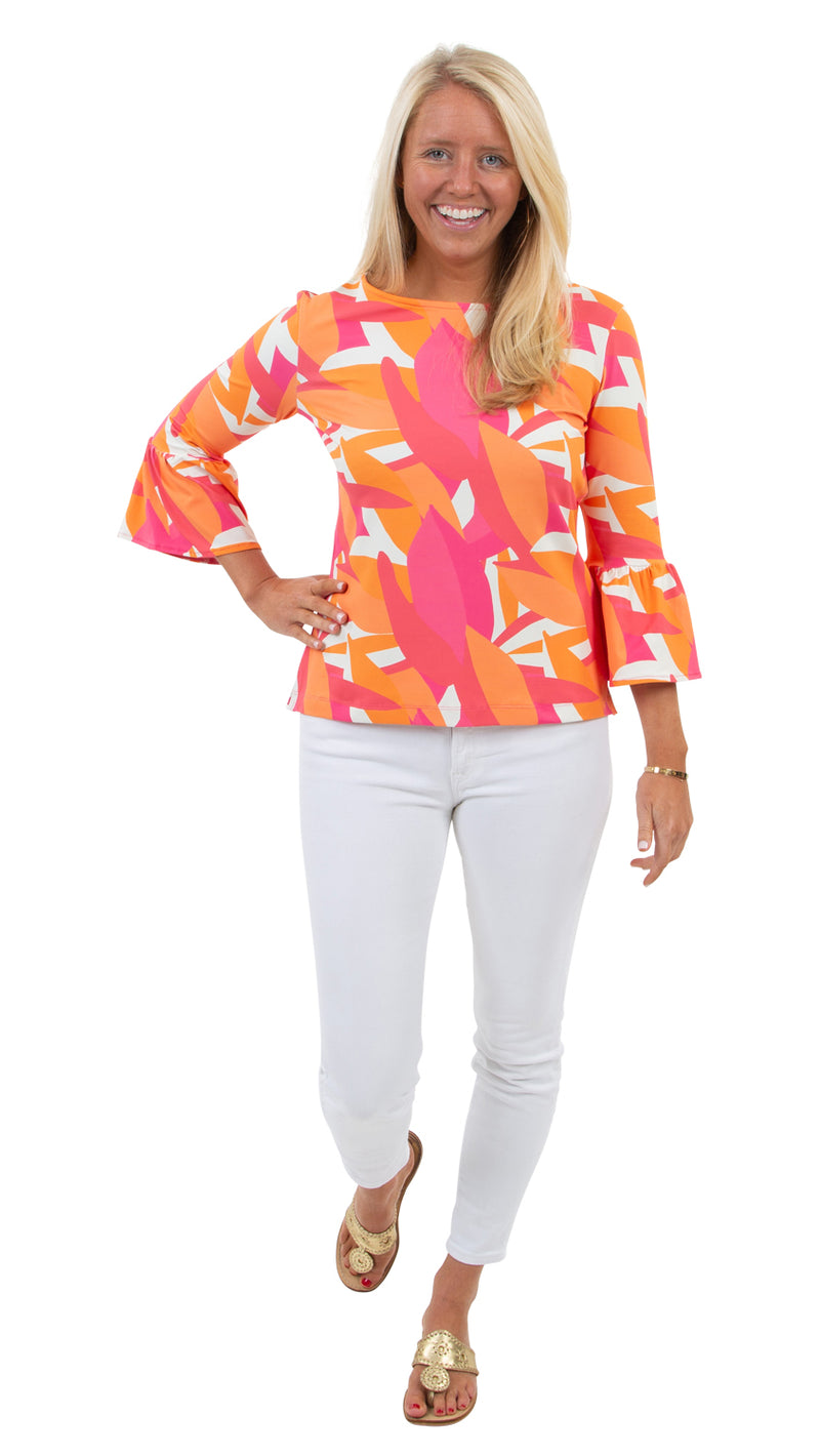 Haley Top - Pink/Orange Mod Leaves