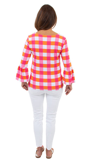 Haley Top - Pink/Orange Chatham Check - FINAL SALE