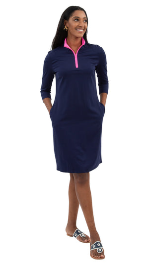 Britt Dress 3/4 Sleeve- Solid Navy/Hot Pink