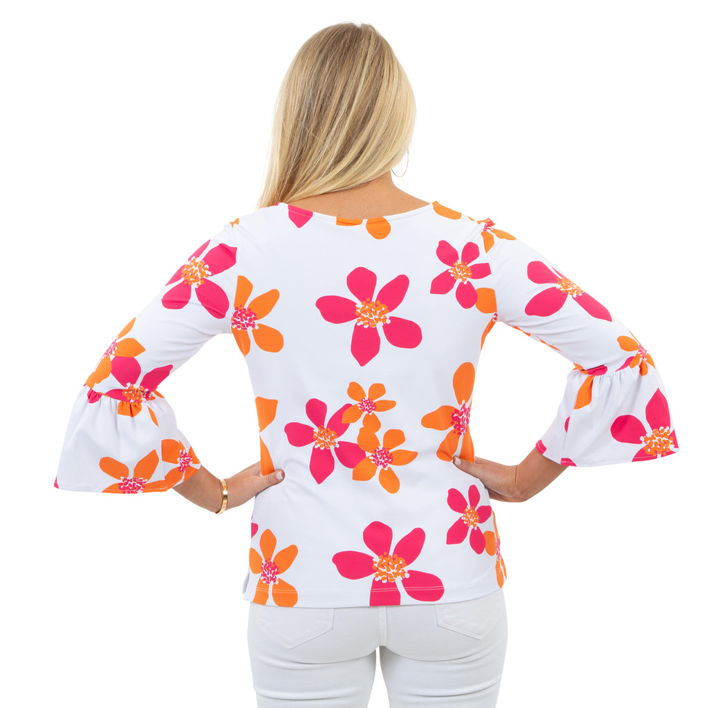 Haley Top - Pink/Orange Spring Flora