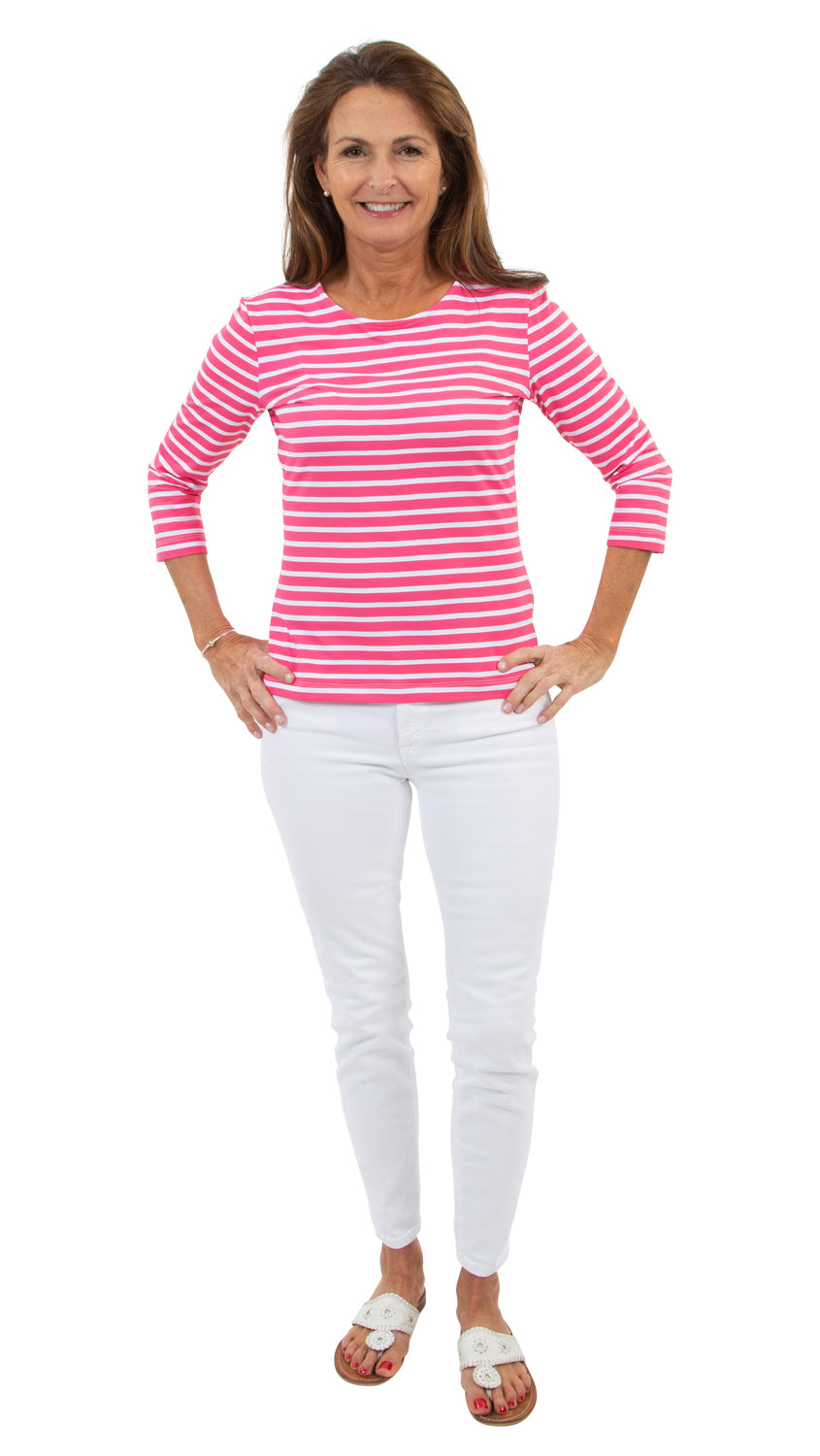 Crew Tee - Hot Pink Summer Stripe
