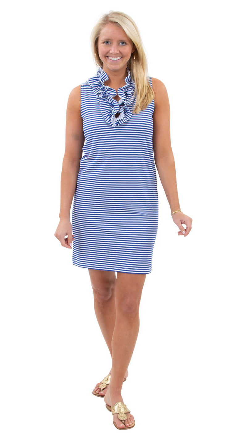 Skipper Dress - Royal/White Stripe
