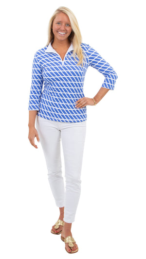 Britt Top 3/4 Sleeve - Blue/White Rope Stripe