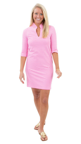 Seaport Shift 3/4 Sleeve - Pink/White Stripe