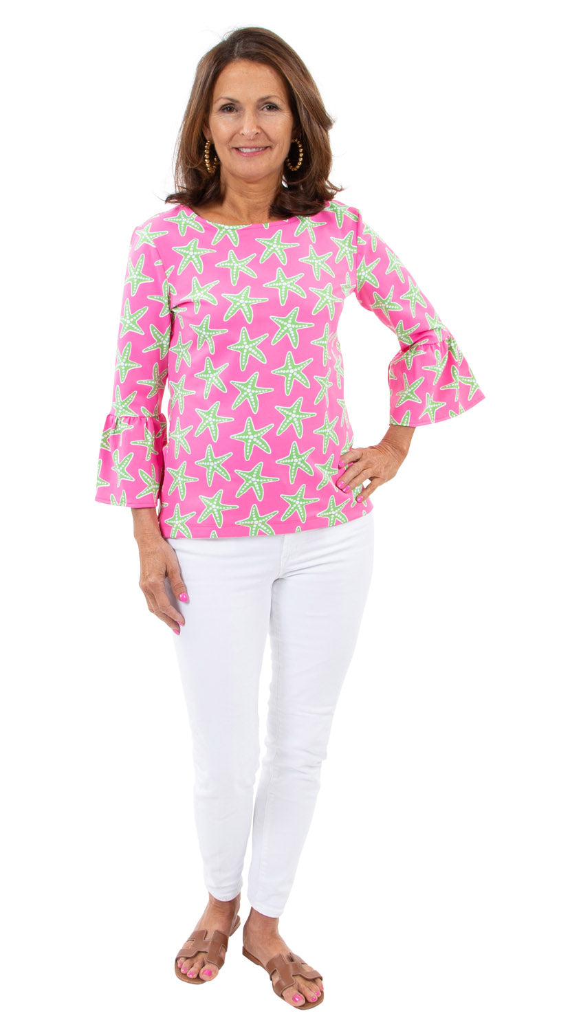 Haley Top - Sea Stars Pink/Green