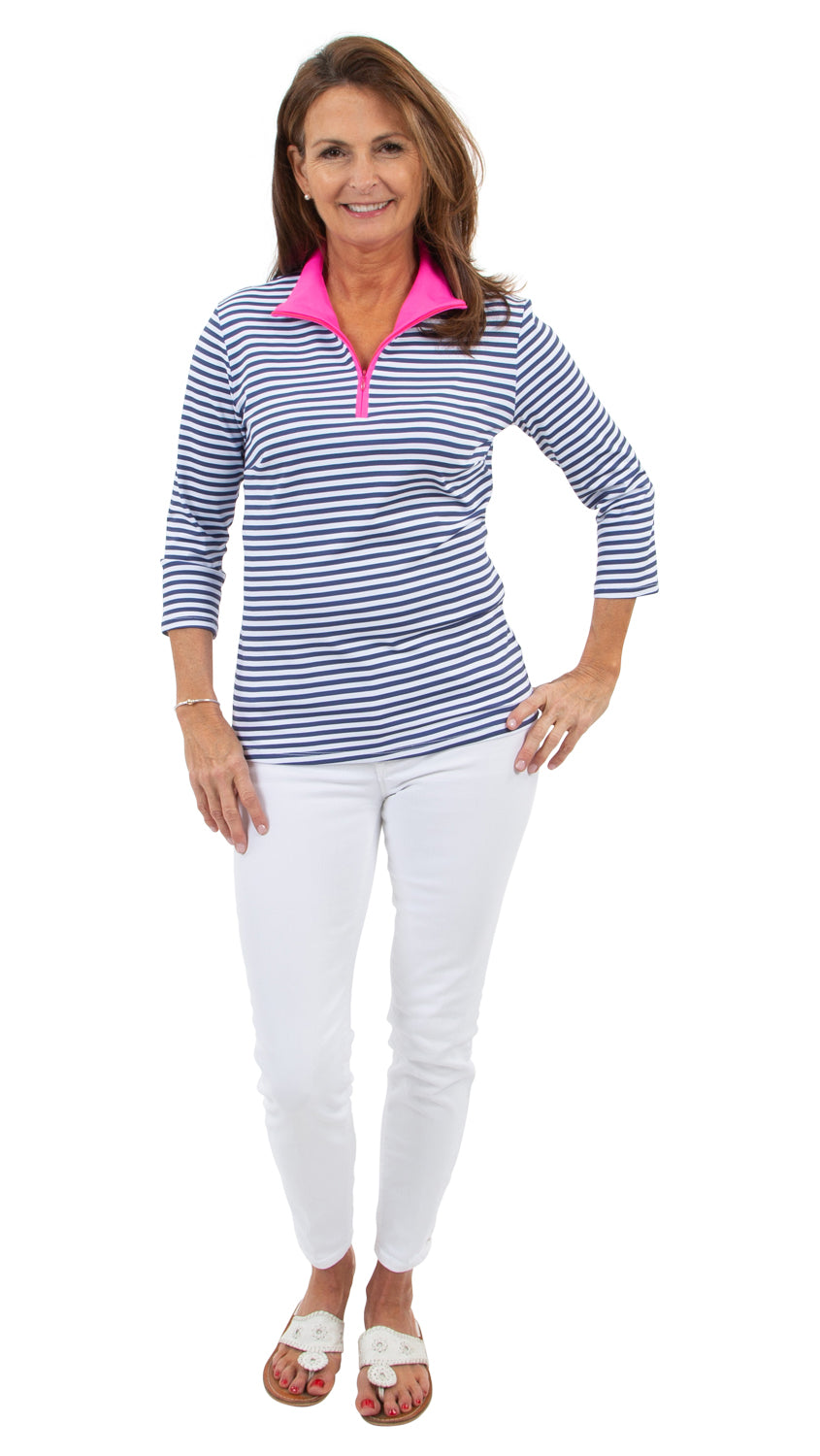 Britt Top 3/4 Sleeve - Navy/White Stripe/Neon Pink