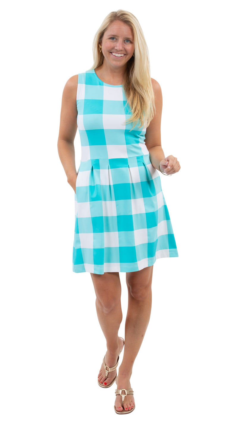 Boardwalk Dress - Blue Curacao Beach Check