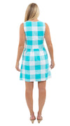 Boardwalk Dress - Blue Curacao Beach Check- SAMPLE FINAL SALE