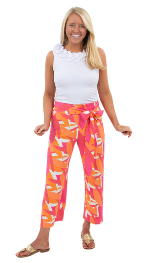 Dorothy Pants - Pink/Orange Mod Leaves - FINAL SALE