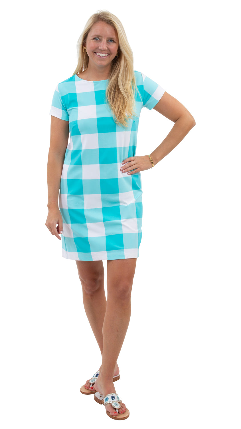 Marina Dress - Blue Curacao Beach Check