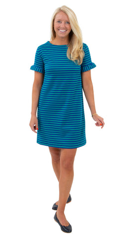 Coco Dress - Double Knit Ponte Stripes - Green/Navy
