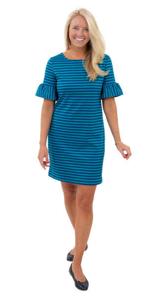 Dockside Dress - Double Knit Ponte Stripes - Green/Navy