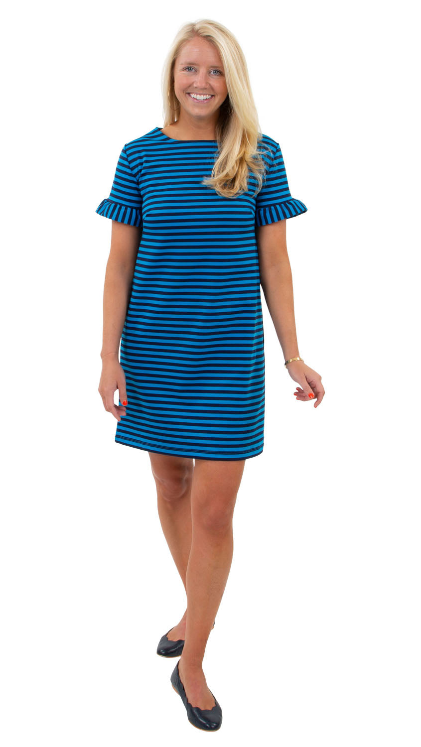 Coco Dress - Double Knit Ponte Stripes - Navy/Azure Blue