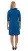 Bridget 3/4 Sleeve Dress - Double Knit Ponte Stripes - Navy/Azure Blue