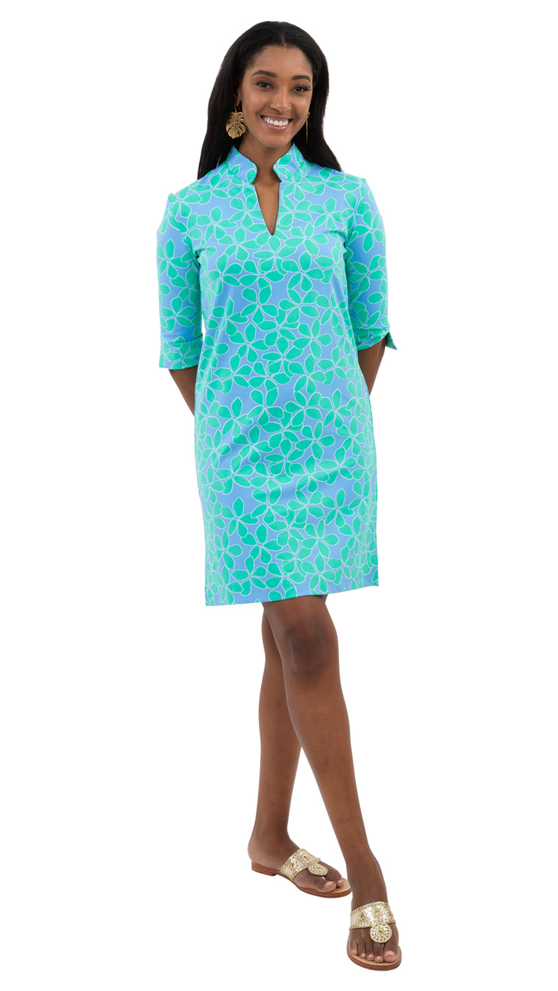 Seaport Shift 3/4 Sleeve - Resort Hibiscus Mint/Blue