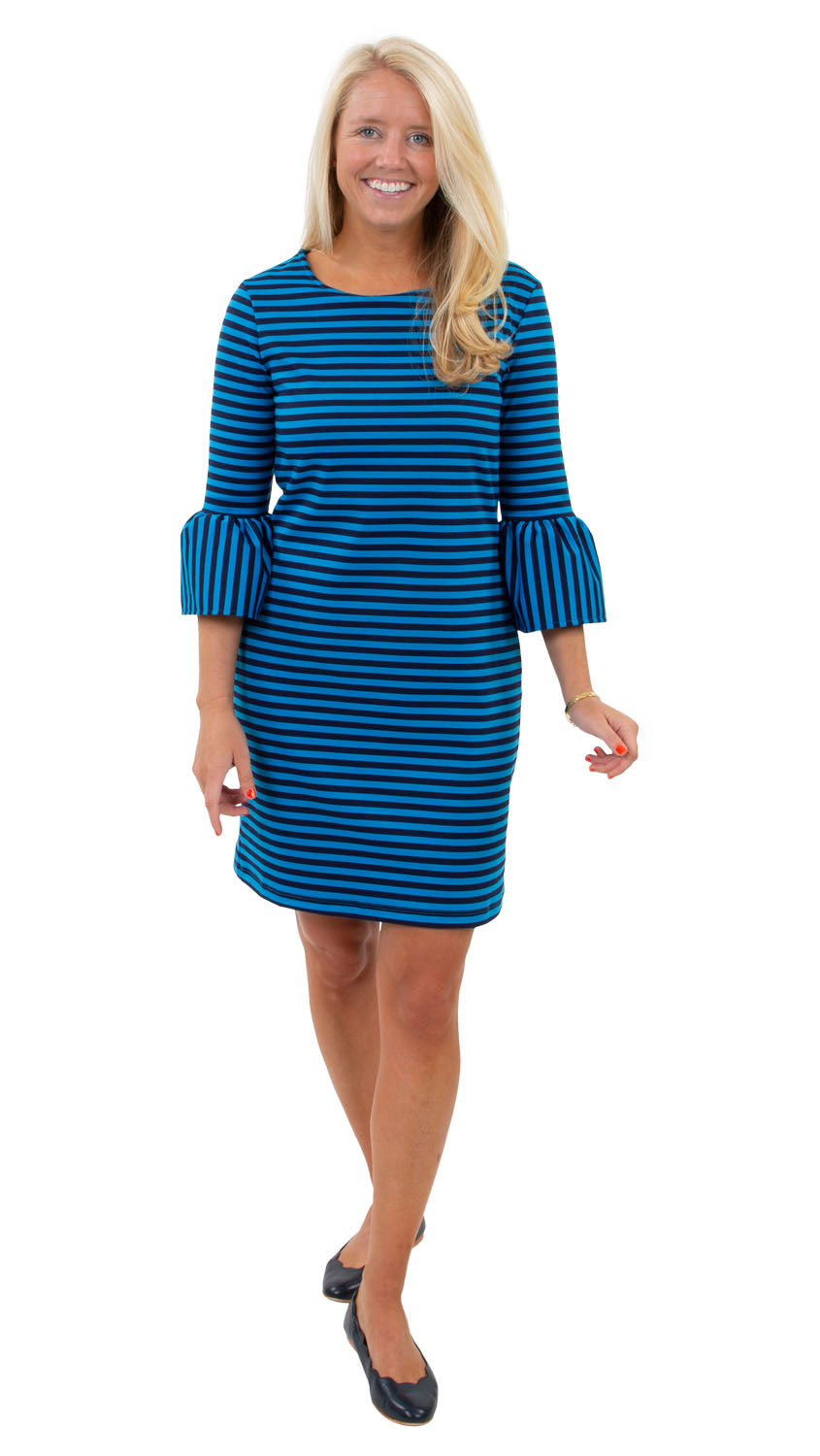 Haley Dress - Double Knit Ponte Stripes - Navy/Azure Blue